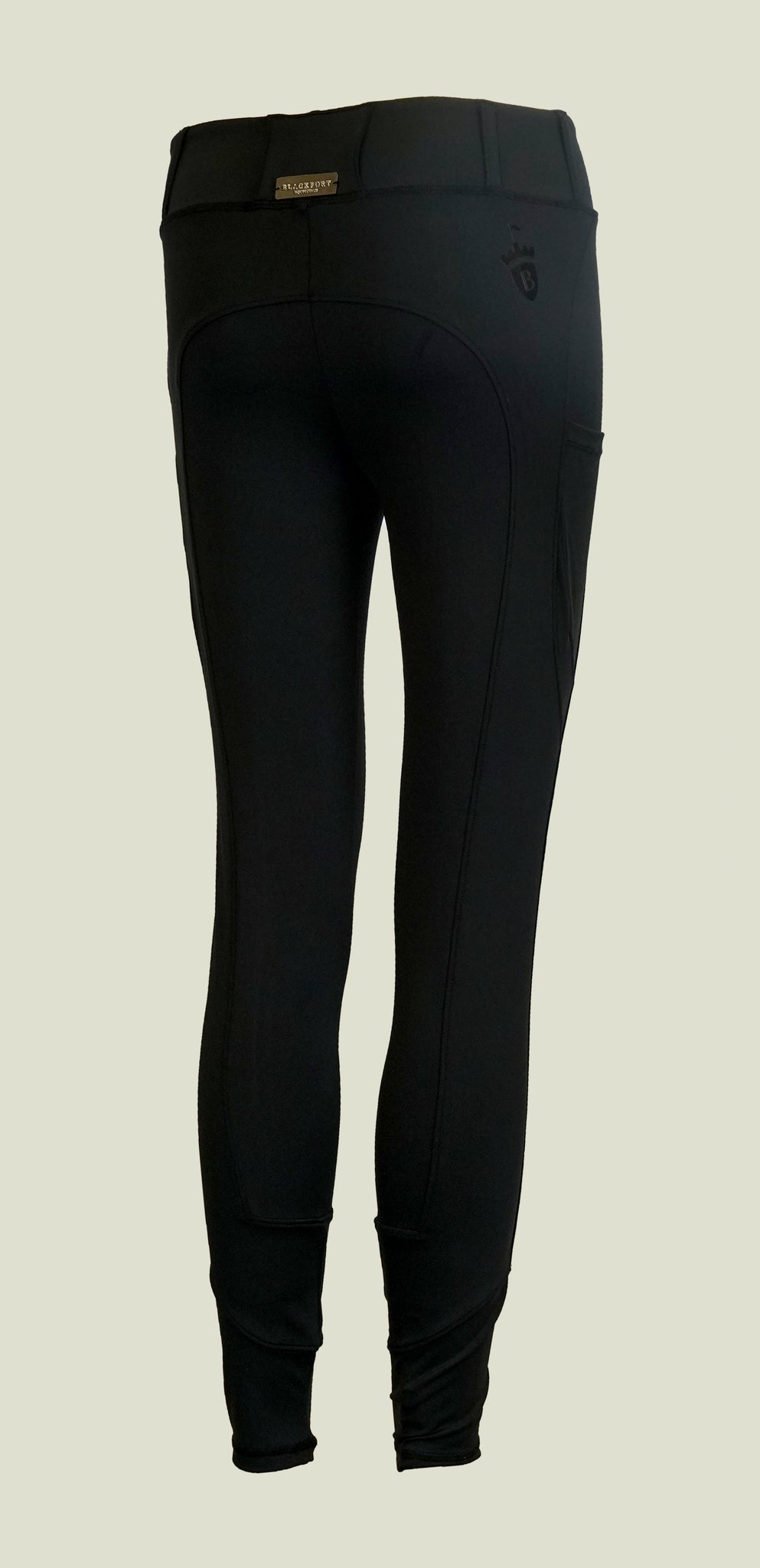 Blackfort Equestrian Riding Leggings with no silicone seat in navy with phone pocket