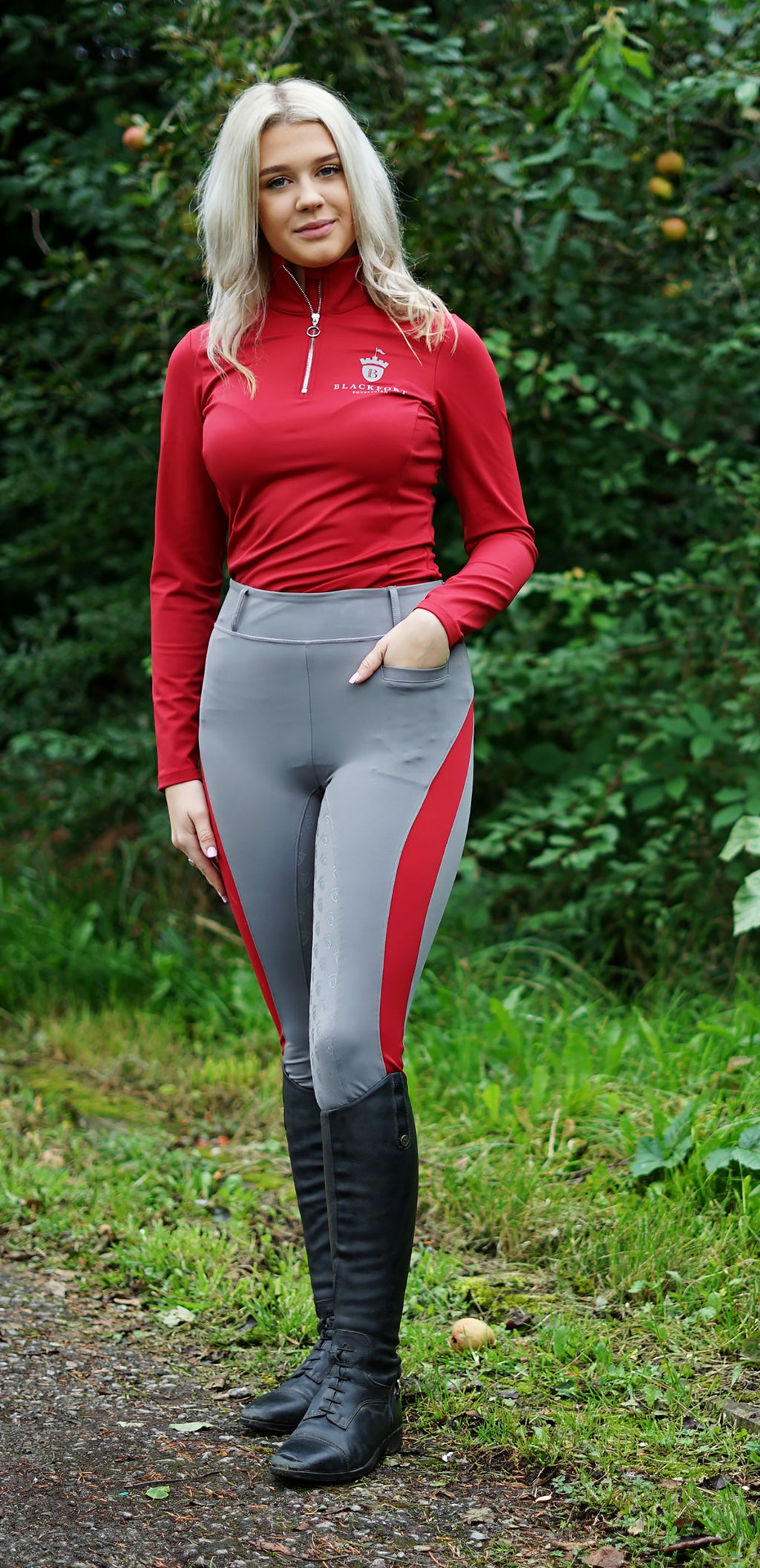 Grey Riding Tights - Deep Red