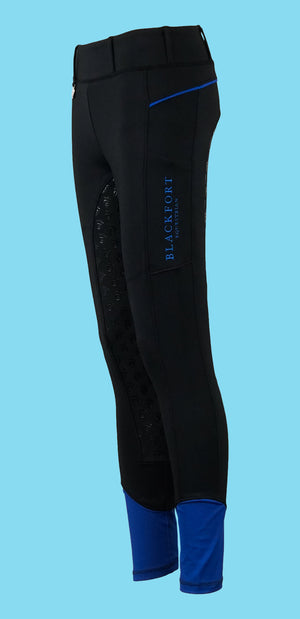 Cold Weather - Riding Tights Black and Sea Blue