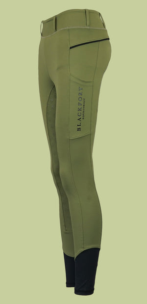 Blackfort Equestrian Khaki Riding Tights with Phone Pocket