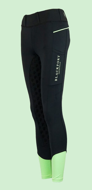 Blackfort Equestrian Mint Green Riding Tights with Phone Pocket