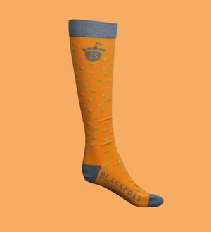 Orange Polka Dot Blackfort Equestrian Cushion Socks