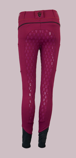 Blackfort Equestrian Plum Riding Tights with Phone Pocket