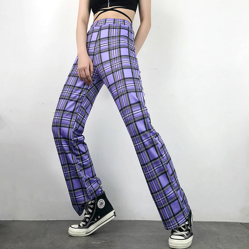 Straight Purple Plaid Pants