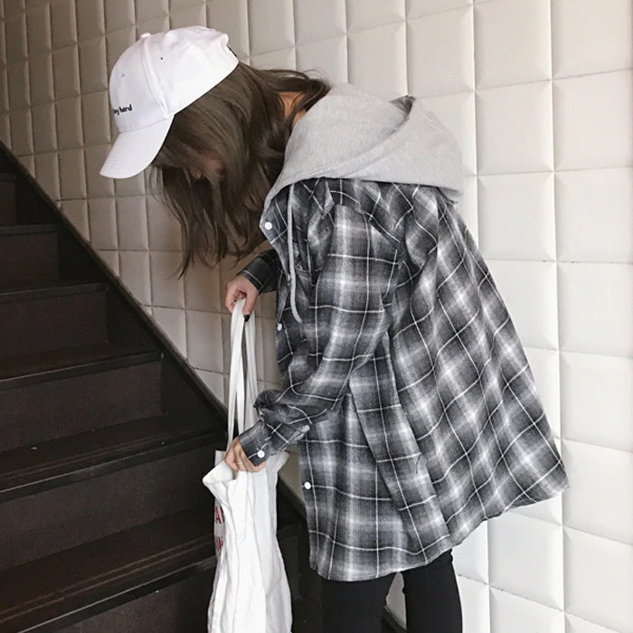 Casual Plaid Hooded Jacket