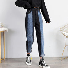 Load image into Gallery viewer, High Waist Black Spliced Color Ankle Length Jeans