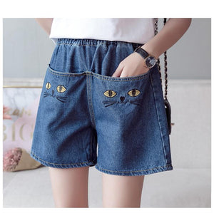 Cat Face Elastic Waist Denim Shorts Jeans