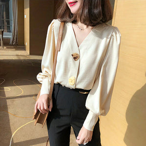 V-Neck Lantern Sleeve Blouse Shirt