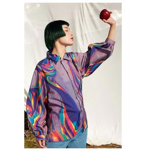 Geometric Multicolor Blouse Shirt