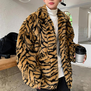 Leopard Stripes Pattern Faux Fur Zipper Coat