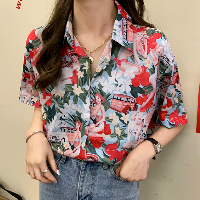 Floral with Car Printed Blouse Shirt
