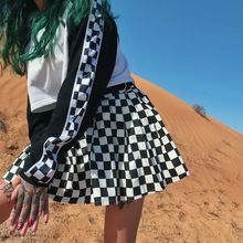 Load image into Gallery viewer, Black White Checkered Plaid A-Line Mini Skirt