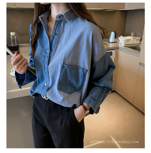Long Sleeve Loose Denim Shirt