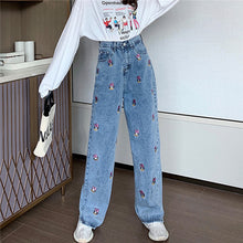 Load image into Gallery viewer, Daisy Duck Embroidered Wide Leg Jeans