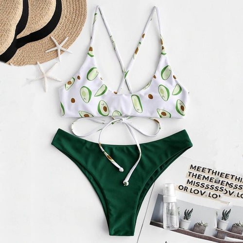 Avocado Printed High Cut Swimsuit