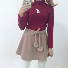 Load image into Gallery viewer, Cute High Collar Rabbit Embroidery Slim Sweater