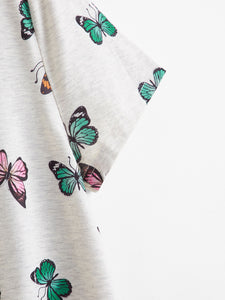 Casual Butterfly Printed Short Sleeve Loose Shirt