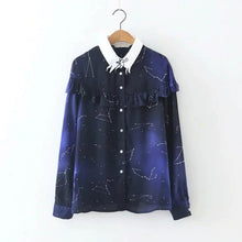 Load image into Gallery viewer, [Women] Cosmic Space Star Printed Ruflles Long Sleeve Shirt