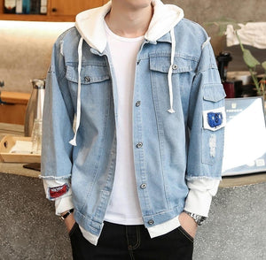 Men's Bomber Hooded Denim Jacket