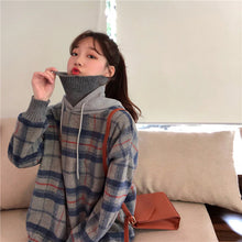 Load image into Gallery viewer, High Collar Plaid Hooded Sweater