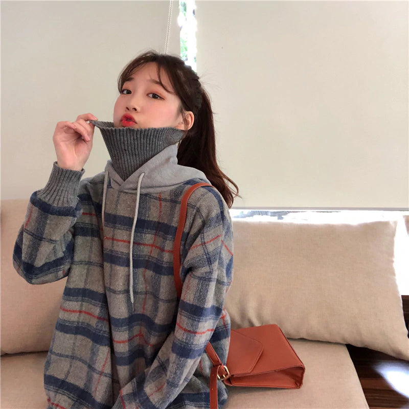 High Collar Plaid Hooded Sweater