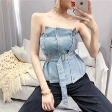 Load image into Gallery viewer, Belted Off Shoulder Denim Tops