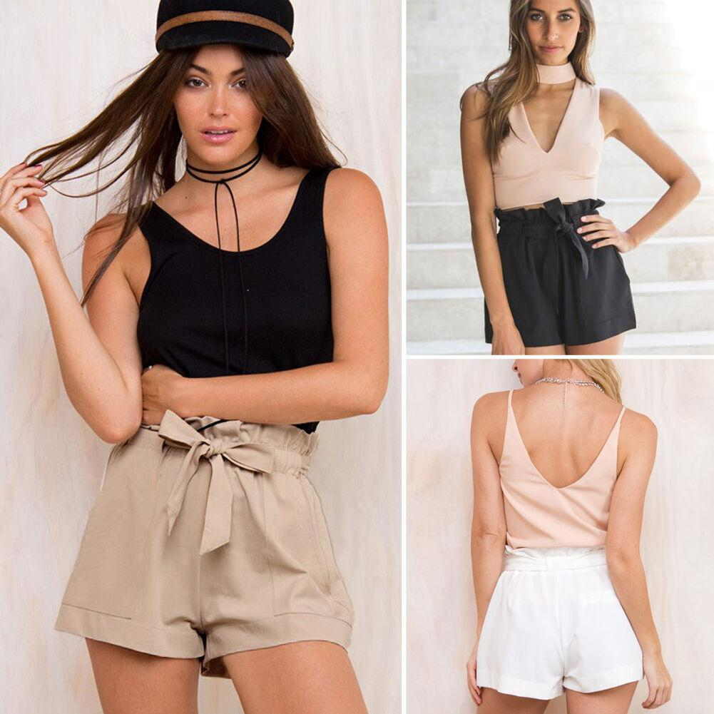 High Waist Bow Tie Belt Shorts