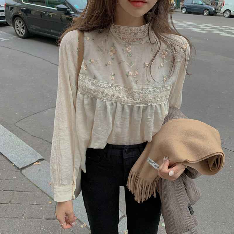 Flower Embroidery Sexy Lace Stand Collar Blouse Shirt