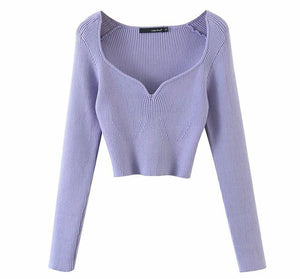 V-Neck Loose Long Sleeve Pullover Knit Sweater