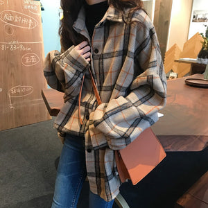 Loose Style Woolen Plaid Coat