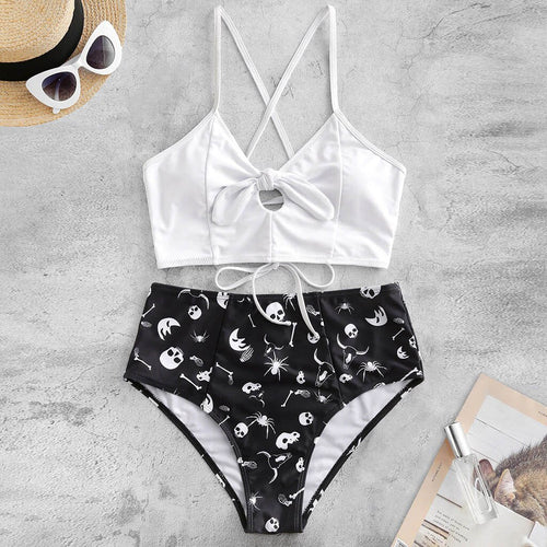 Skull Printed High Cut Swimsuit