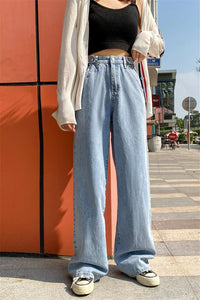 High Waist Wide Leg Denim Jeans Pants