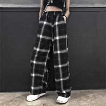 Load image into Gallery viewer, Checkered Black and White Elastic Waist Pants