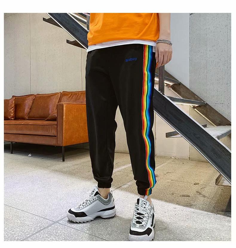 Bad Boy Letter Printed Rainbow Striped Casual Pants