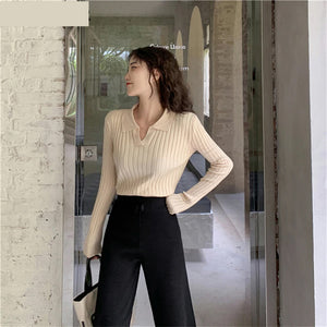 V-Neck Slim Knitted Long Sleeve Sweater