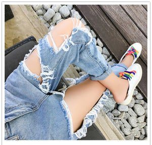 Vintage Loose Thin Ripped Jeans Pants