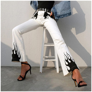 High Waist Flame Printed White Pants