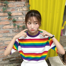 Load image into Gallery viewer, Short Sleeve Rainbow Striped Shirt