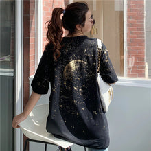 Load image into Gallery viewer, Moon Stars Planet Back Printed T-Shirt