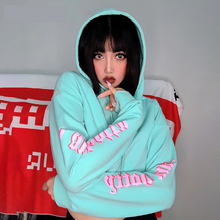Load image into Gallery viewer, I Am Hotty Side Sleeve Letter Printed Crop Hoodie