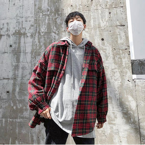 Thick Plaid Pattern Oversized Shirt