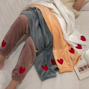 Heart Embroidery Velvet Skinny Pants