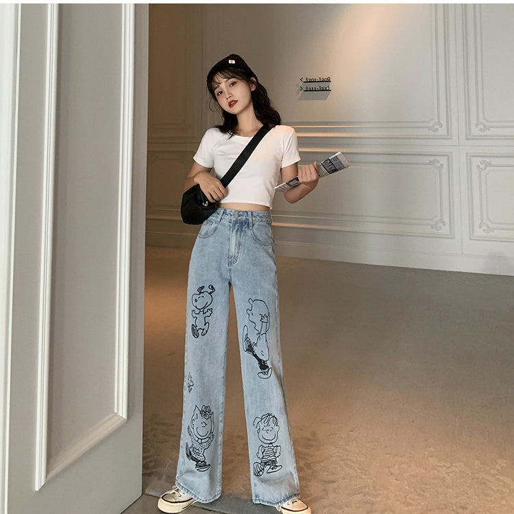 High Waist Snoopy Dog Printed Jeans Pants