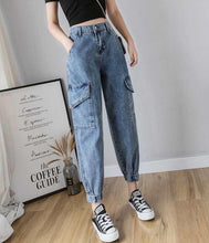Load image into Gallery viewer, High Waist Pocket Cargo Jogger Denim Pants