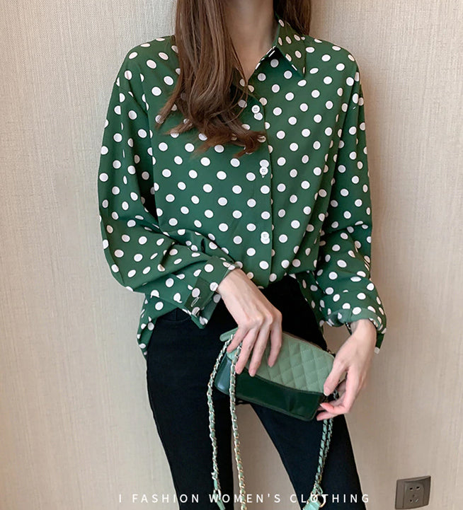 Polka Dot Style Long Sleeve Shirt