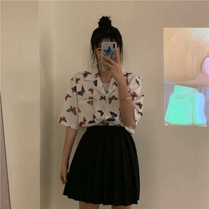 Vintage Butterfly Printed Short Sleeve Blouse Shirt