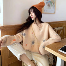 Load image into Gallery viewer, Sun Drawing Pattern Knitted Oversized Sweater