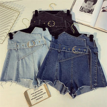 Load image into Gallery viewer, Asymmetrical Zipper Shorts Denim Jeans