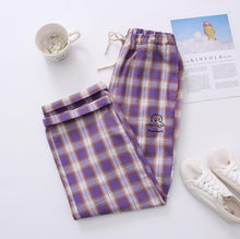 Load image into Gallery viewer, Retro Soft Purple Plaid Wide Leg Pants