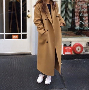 Winter Double Breasted Long Wool Coat